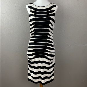 Black & White Stripe Body-con Shift Dress